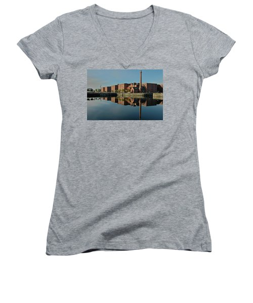 Women's V-Neck T-Shirt (Junior Cut) featuring the photograph Liverpool Canning Docks by Jonah  Anderson
