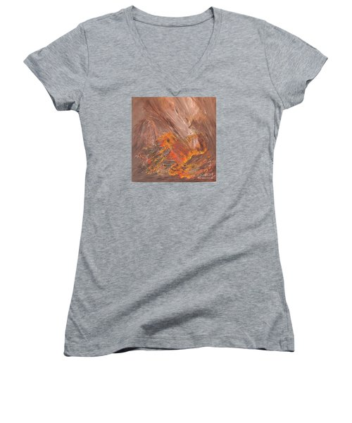 Living Earth-kneeling Buddha Women's V-Neck T-Shirt (Junior Cut) by Susan  Dimitrakopoulos