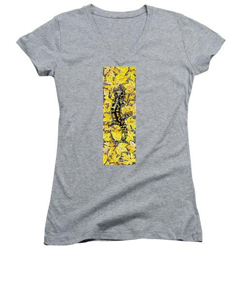Women's V-Neck T-Shirt (Junior Cut) featuring the painting Lizard In Yellow Nature - Elena Yakubovich by Elena Yakubovich