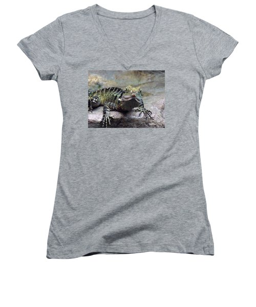 Women's V-Neck T-Shirt (Junior Cut) featuring the photograph Lizzie's Gaze by Lingfai Leung