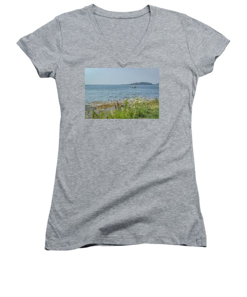 Women's V-Neck T-Shirt (Junior Cut) featuring the photograph Lobster Boat At Rest by Jane Luxton