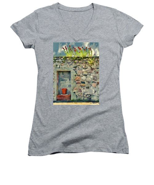 Location With A View Women's V-Neck T-Shirt (Junior Cut) by Jeff Kolker