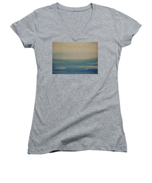 Women's V-Neck T-Shirt (Junior Cut) featuring the painting Loch Of My Heart by Mini Arora