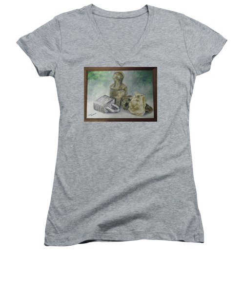 Women's V-Neck T-Shirt (Junior Cut) featuring the painting Locked And Anchored by Mary Ellen Anderson