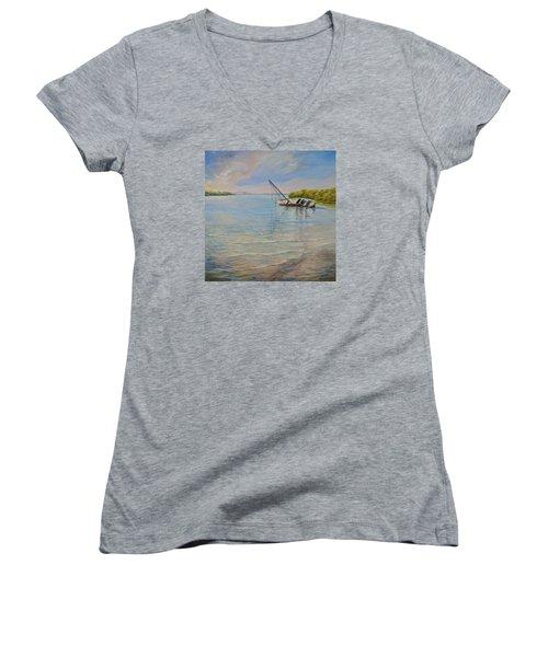 Locked Women's V-Neck T-Shirt (Junior Cut) by AnnaJo Vahle