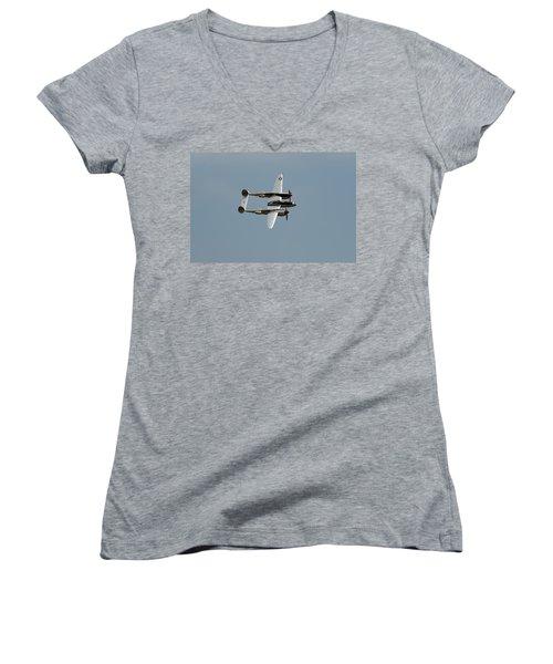 Lockheed P 38 Lightning Women's V-Neck T-Shirt