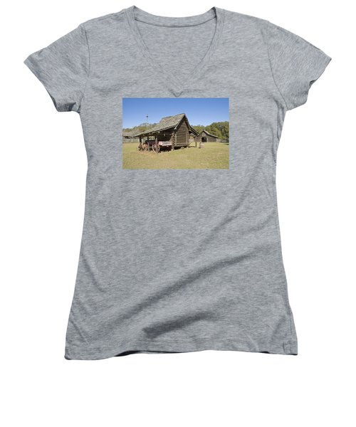 Women's V-Neck T-Shirt (Junior Cut) featuring the photograph Log Cabin And Barn by Charles Beeler