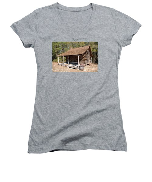 Women's V-Neck T-Shirt (Junior Cut) featuring the photograph Log Cabin by Charles Beeler