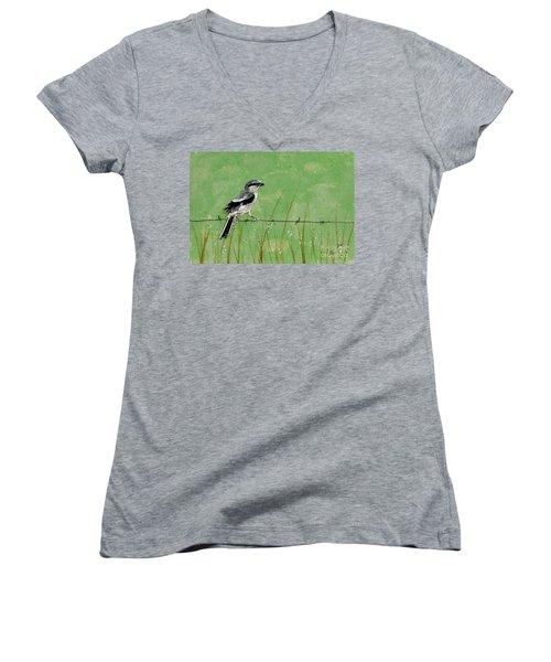 Loggerhead Shrike Women's V-Neck T-Shirt (Junior Cut) by Stefanie Forck