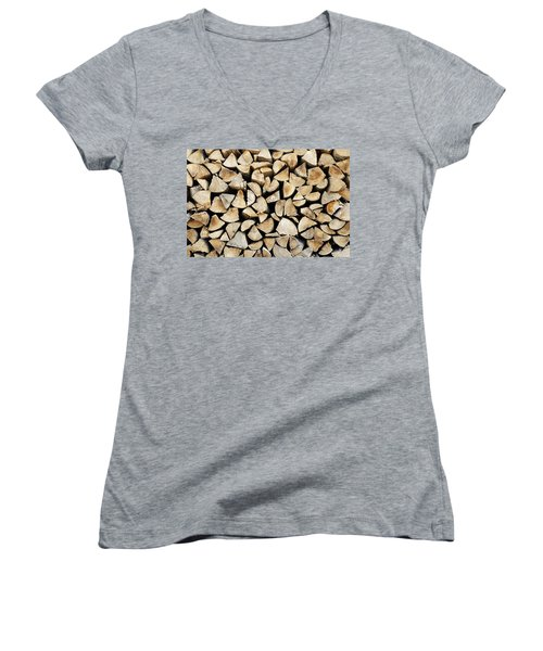 Logs Background Women's V-Neck (Athletic Fit)
