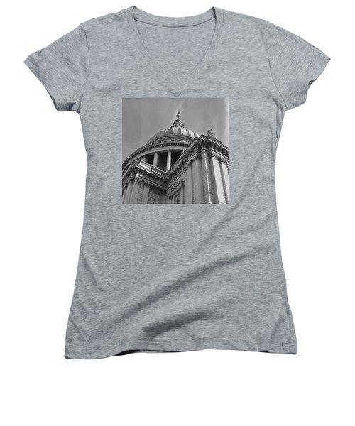 London St Pauls Cathedral Women's V-Neck T-Shirt (Junior Cut) by Cheryl Miller