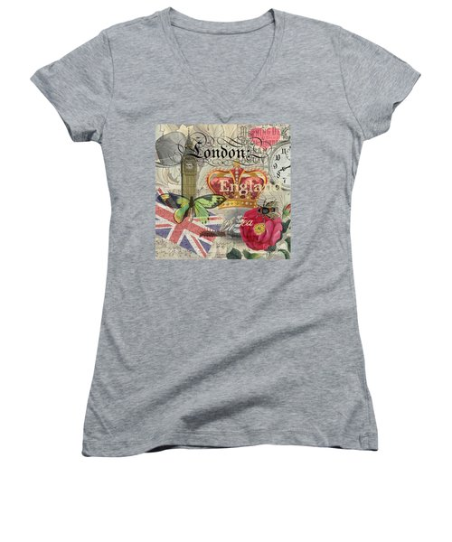 London England Vintage Travel Collage  Women's V-Neck T-Shirt