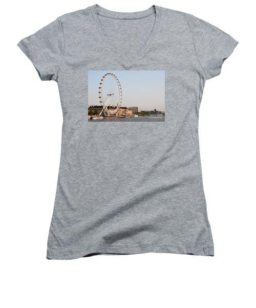 Women's V-Neck T-Shirt (Junior Cut) featuring the photograph London Eye Day by Matt Malloy