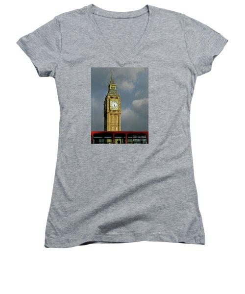 Women's V-Neck T-Shirt (Junior Cut) featuring the photograph London Icons by Ann Horn