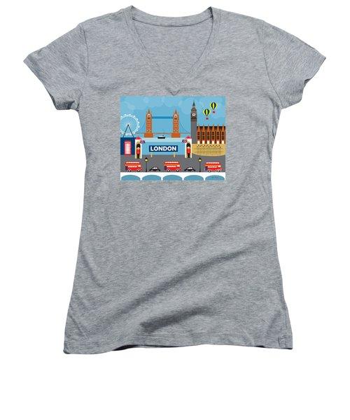 London England Skyline By Loose Petals Women's V-Neck T-Shirt (Junior Cut) by Karen Young