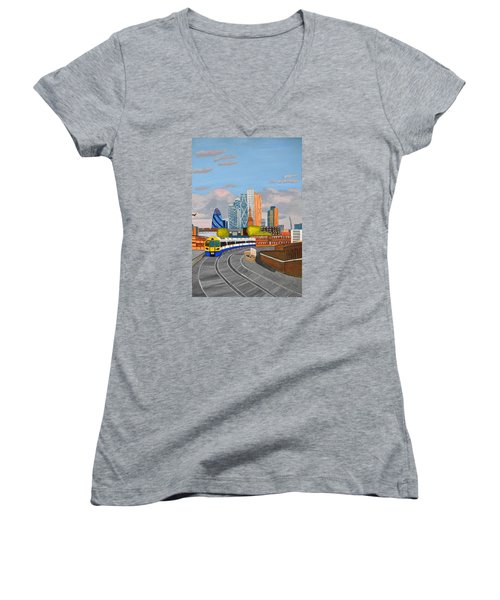 Women's V-Neck T-Shirt (Junior Cut) featuring the painting London Overland Train-hoxton Station by Magdalena Frohnsdorff