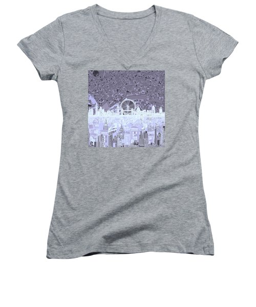 London Skyline Abstract 10 Women's V-Neck T-Shirt