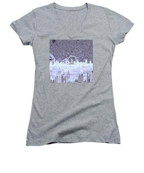 London Skyline Abstract 10 Women's V-Neck T-Shirt (Junior Cut)