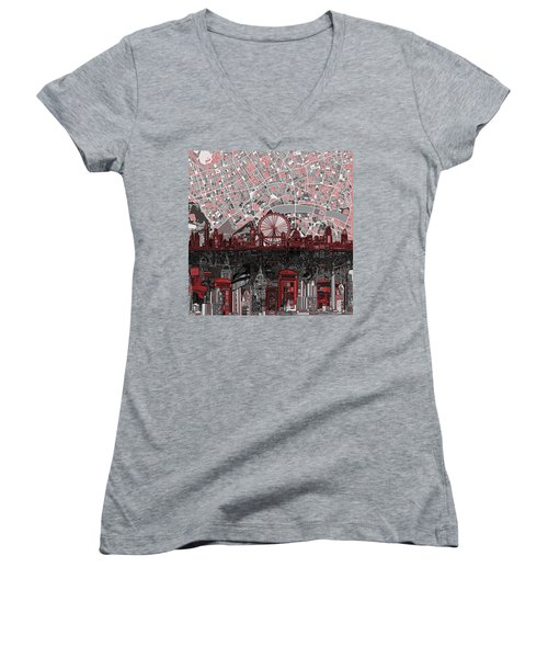London Skyline Abstract 6 Women's V-Neck T-Shirt