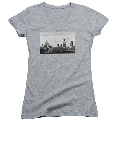 London Skyline Pencil Drawing Women's V-Neck (Athletic Fit)