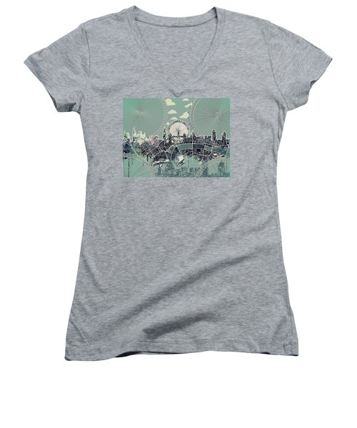 London Skyline Vintage Women's V-Neck T-Shirt