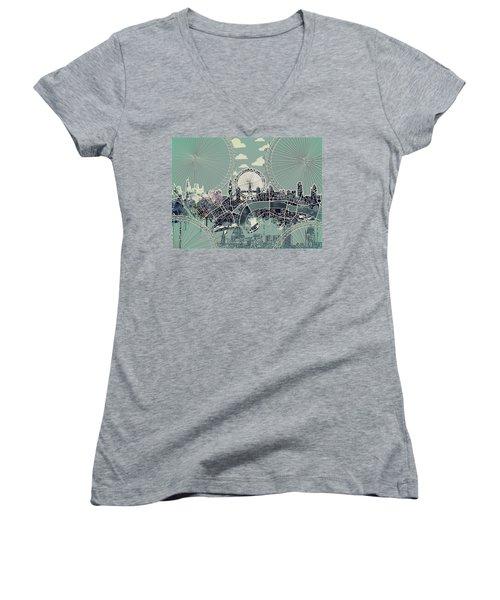London Skyline Vintage Women's V-Neck T-Shirt (Junior Cut)