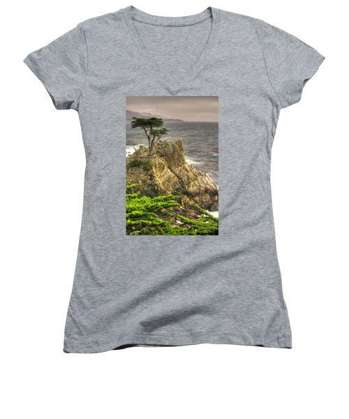 Lone Cypress On The Monterey Peninsula - No. 1 Looking Across Carmel Bay Spring Mid-afternoon Women's V-Neck T-Shirt (Junior Cut) by Michael Mazaika