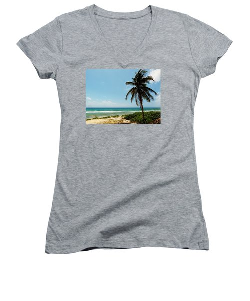 Women's V-Neck T-Shirt (Junior Cut) featuring the photograph Lone Tree by Amar Sheow