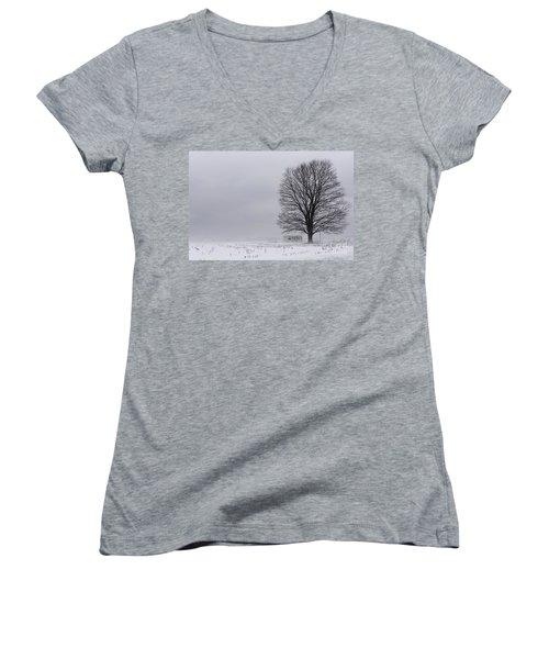 Lone Tree In The Fog Women's V-Neck T-Shirt (Junior Cut)