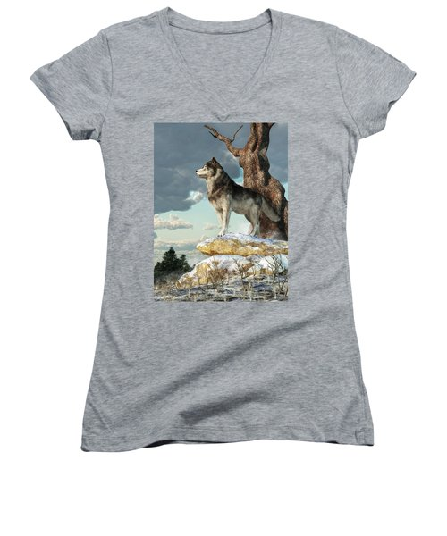Lone Wolf Women's V-Neck (Athletic Fit)
