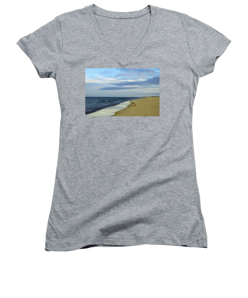 Lonely Cape Cod Beach Women's V-Neck