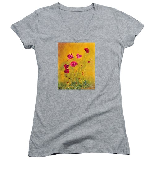 Women's V-Neck T-Shirt (Junior Cut) featuring the painting Lonely Poppies by Teresa Wegrzyn