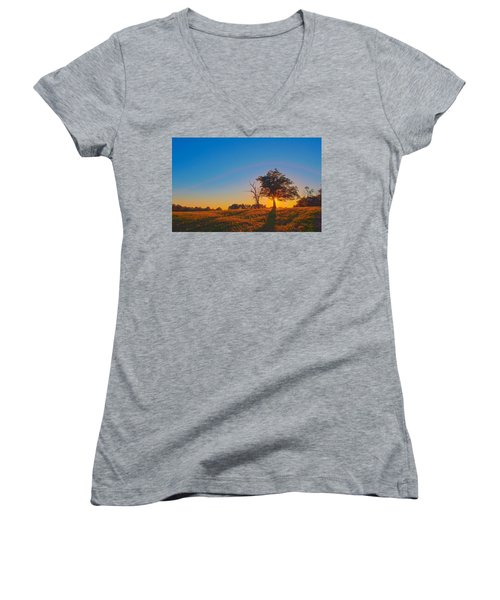 Women's V-Neck T-Shirt (Junior Cut) featuring the photograph Lonely Tree On Farmland At Sunset by Alex Grichenko