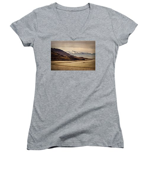 Women's V-Neck T-Shirt (Junior Cut) featuring the photograph Lonesome Land by Priscilla Burgers