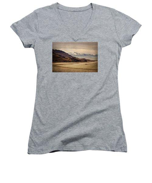 Lonesome Land Women's V-Neck T-Shirt (Junior Cut) by Priscilla Burgers