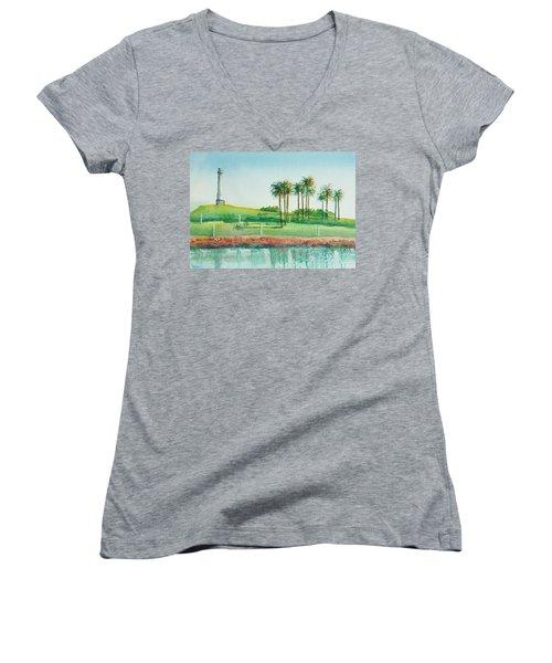 Long Beach Lighthouse Women's V-Neck T-Shirt (Junior Cut) by Debbie Lewis
