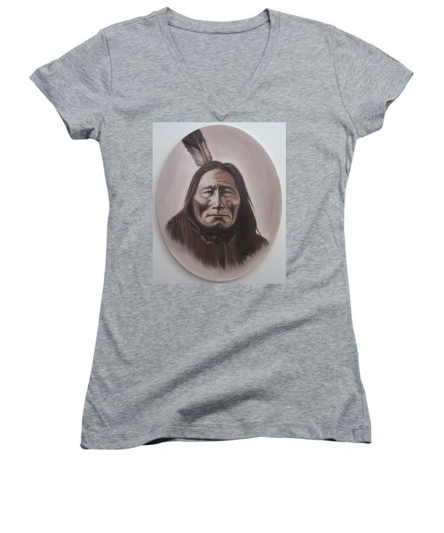 Women's V-Neck T-Shirt (Junior Cut) featuring the painting Long Bear by Michael  TMAD Finney