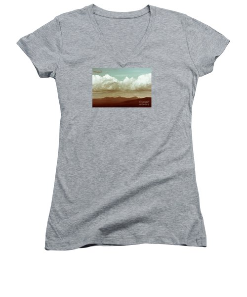 Women's V-Neck T-Shirt (Junior Cut) featuring the photograph Long Horizon by Dana DiPasquale