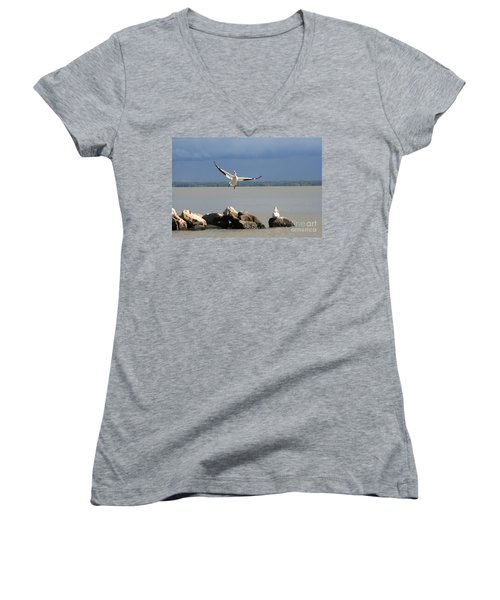 Look Ma - I Can Fly Women's V-Neck T-Shirt (Junior Cut) by Mary Mikawoz