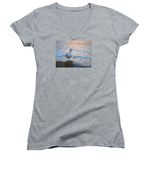 Women's V-Neck T-Shirt (Junior Cut) featuring the photograph Looking Back by Susan  Dimitrakopoulos