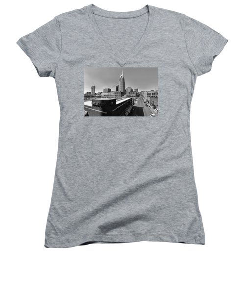 Looking Down On Nashville Women's V-Neck T-Shirt (Junior Cut) by Dan Sproul