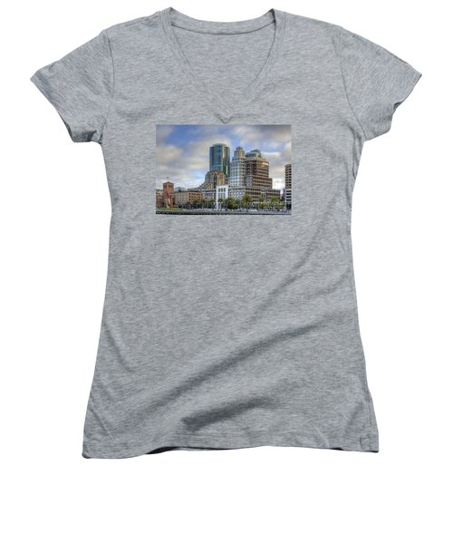 Women's V-Neck T-Shirt (Junior Cut) featuring the photograph Looking Downtown by Kate Brown