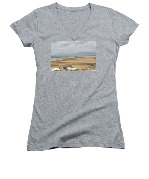 Women's V-Neck T-Shirt (Junior Cut) featuring the photograph Looking North From Antelope Island by Belinda Greb