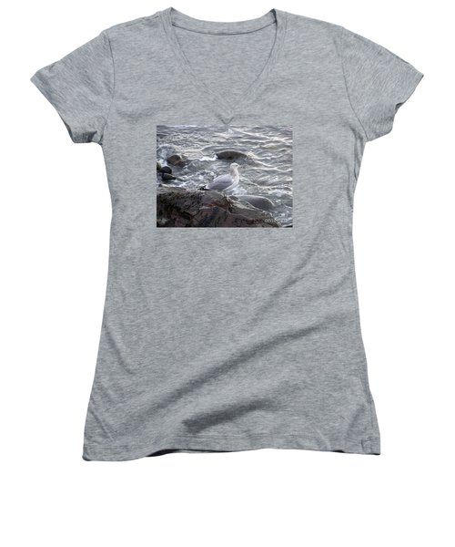Looking Out To Sea Women's V-Neck T-Shirt (Junior Cut) by Eunice Miller