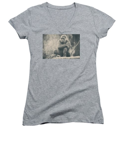 Looking So Sad Women's V-Neck (Athletic Fit)