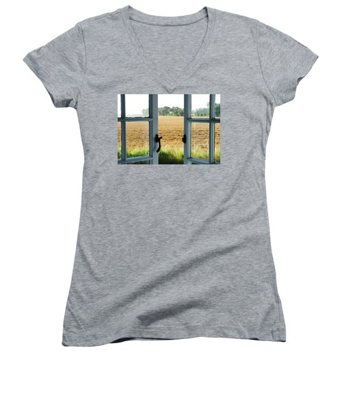 Looking Through A Window Women's V-Neck (Athletic Fit)