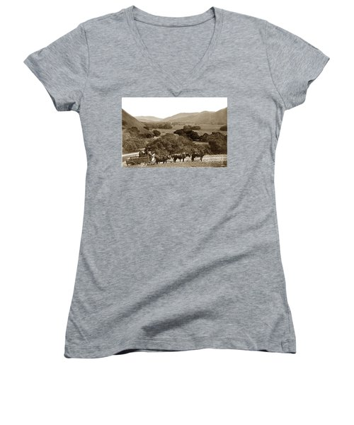 Looking Up The Carmel Valley California Circa 1880 Women's V-Neck T-Shirt (Junior Cut) by California Views Mr Pat Hathaway Archives