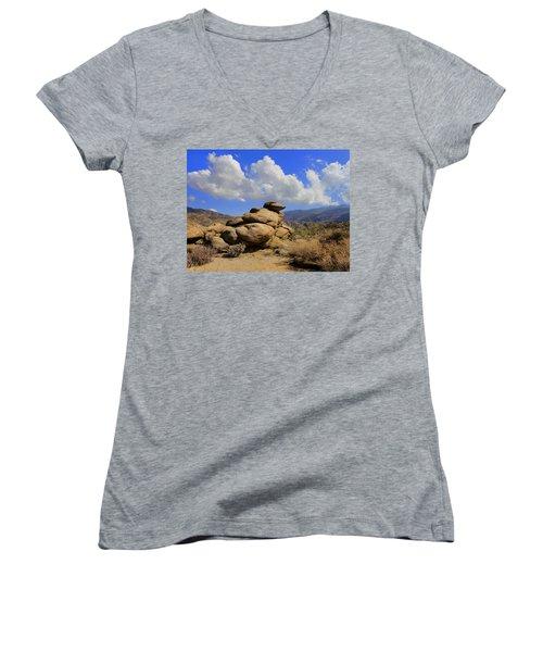 Women's V-Neck T-Shirt (Junior Cut) featuring the photograph Lookout Rock by Michael Pickett