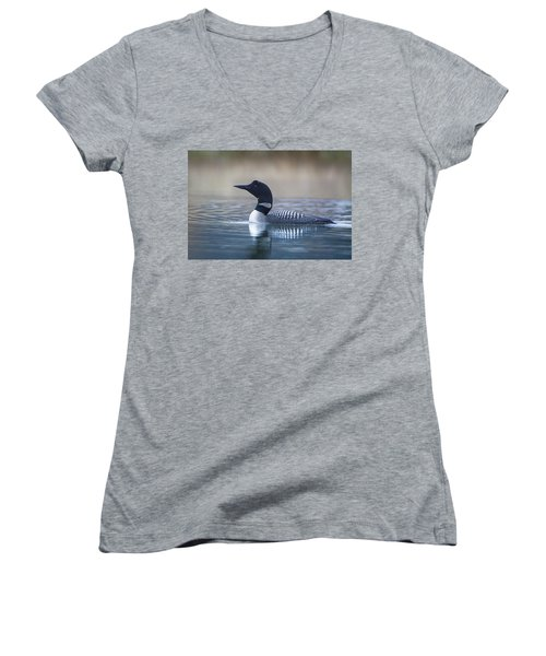 Women's V-Neck T-Shirt (Junior Cut) featuring the photograph Loon by Jack Bell