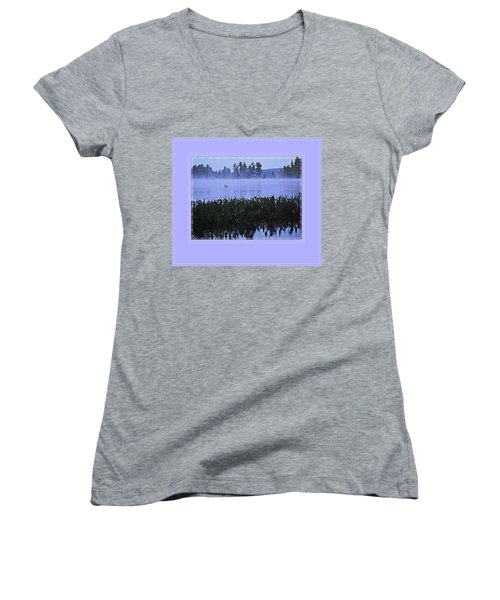 Loon On A Misty Morning At Parker Women's V-Neck T-Shirt (Junior Cut) by Joy Nichols